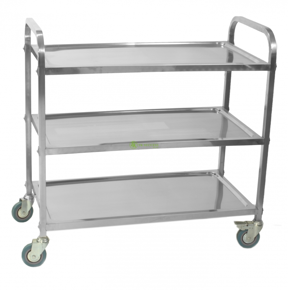 Stainless Steel 3 Tier Trolley (2 Side Push Handle)