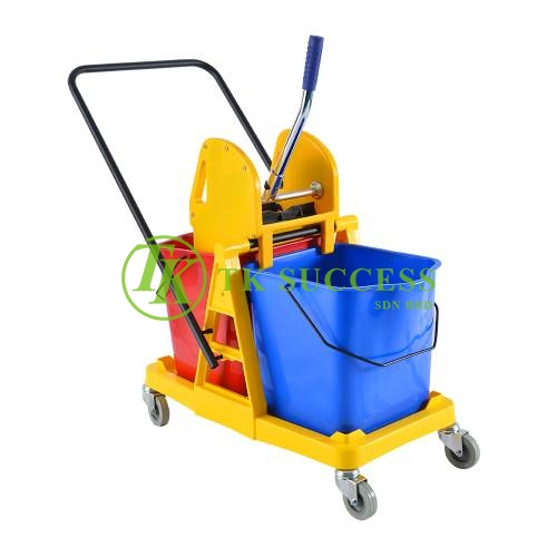 Double Wringer Mop Bucket with Plastic Frame