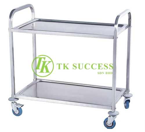 Stainless Steel 2 Tiers Serving Trolley
