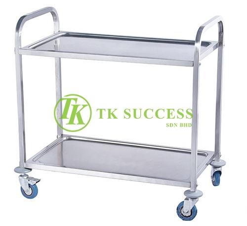Stainless Steel 2 Tiers Serving Trolley
