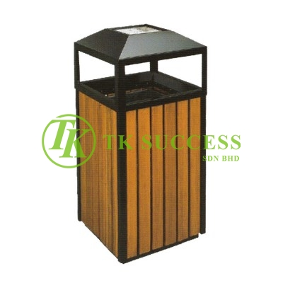 Wood Square Waste Bin c/w Ashtray Top &G.I. Inner Liner