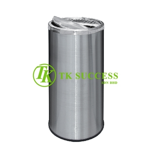Stainless Steel Round Waste  Bin c/w Half Ashtray & Half Swing