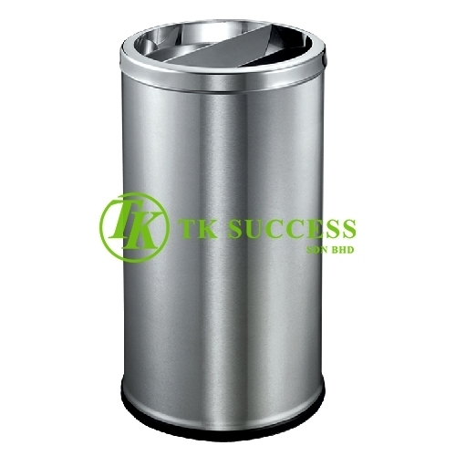 Stainless Steel Round Waste  Bin c/w Half Ashtray & Half Open Top