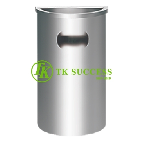 Stainless Steel Semi Round Bin c/w  Ashtray Top