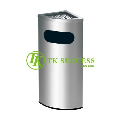 Stainless Steel Corner Bin c/w Ashtary Top