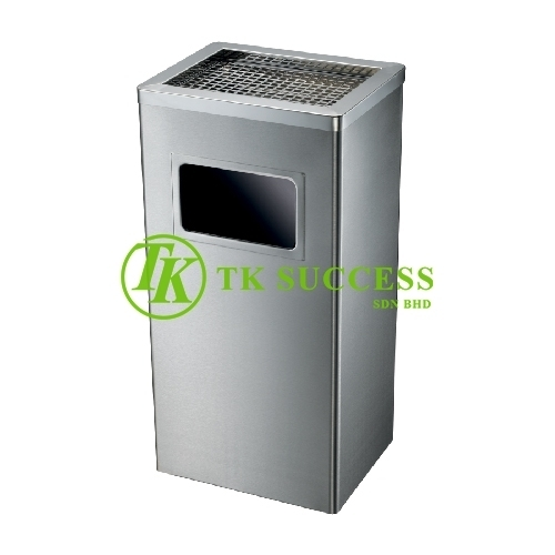 Stainless Steel Rectangular Waste Bin c/w Ashtray Top