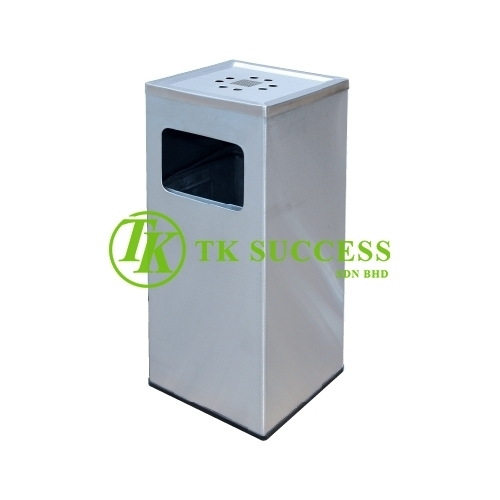 Stainless Steel Square Waste Bin c/w AshtrayTop