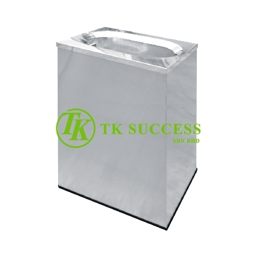 Stainless Steel Rectangular Waste Bin c/w Oval Top Opening