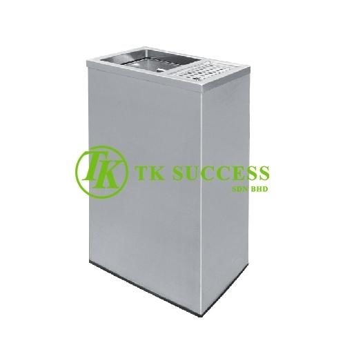 Stainless Steel Rectangular Waste Bin c/w 1/3 Ashtray & 2/3 Open Top