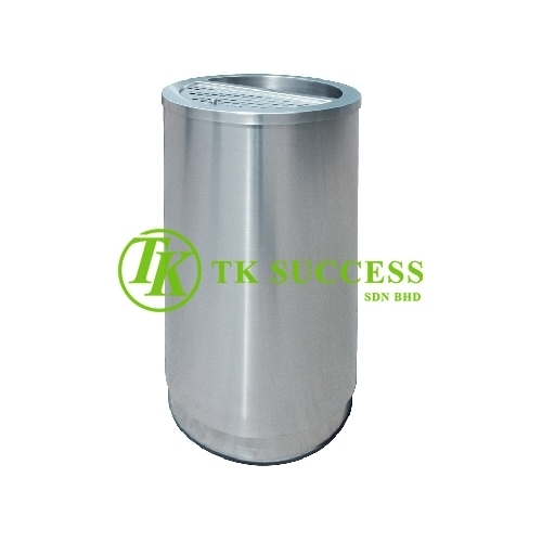 Stainless Steel Round Bin c/w 1/2  Ashtray & 1/2 open Top