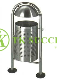 Stainless Steel Outdoor Bin with Top Cover & Galvanised Steel Liner