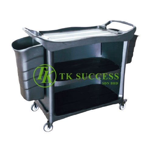 3 Tiers Utilities Cart C/W 3 Sides Cover & Bucket (Black)
