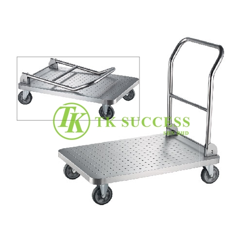 Stainless Steel Platform Trolley (Foldable Handle)