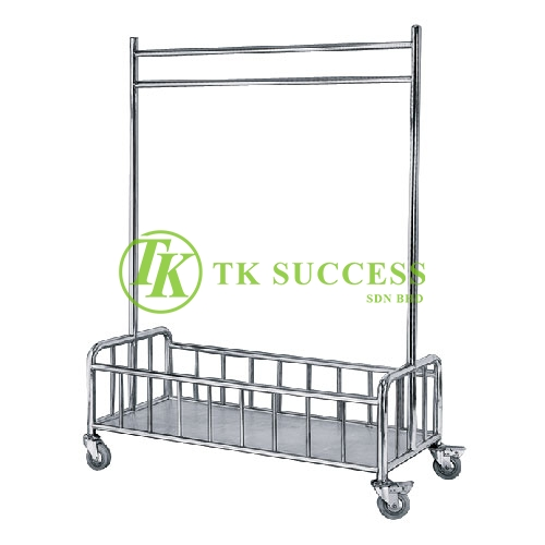 Stainless Steel Linen Hanging Trolley C/W Bottom Basket Compartment
