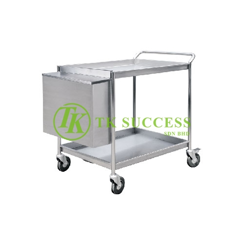 Stainless Steel 2 Tiers Trolley C/W Hanging Bin