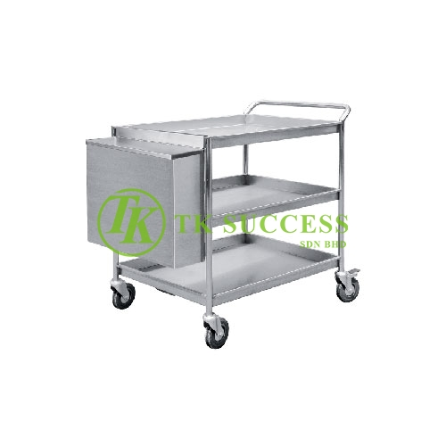 Stainless Steel 3 Tiers Trolley C W Hanging Bin