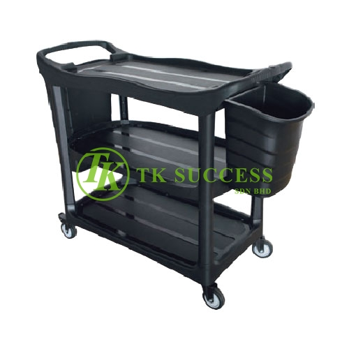 3 Tiers Utilities Cart C/W Bucket - Black