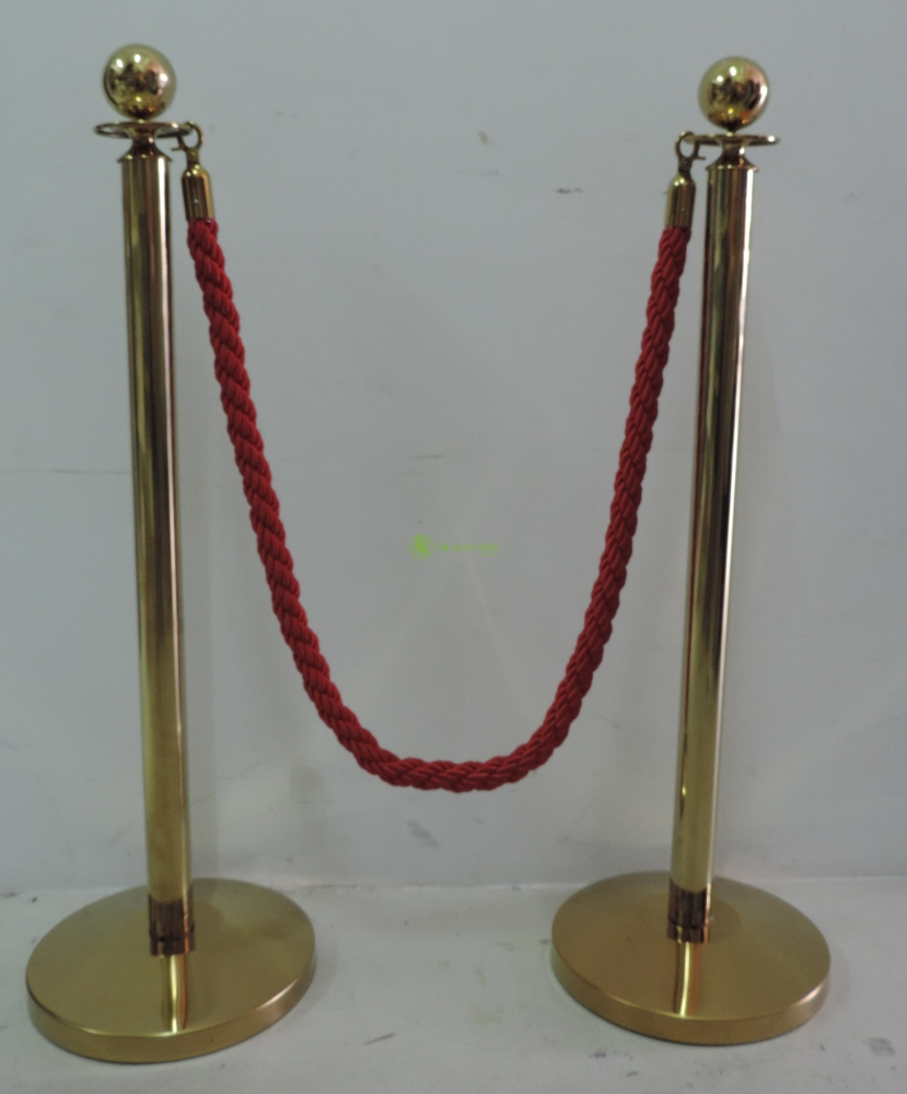 Gold Brass Velvet Rope Q-Up Stand (Ball Top)