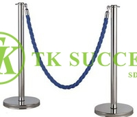 Stainless Steel Velvet Rope Q Up Stand (Flat Top)