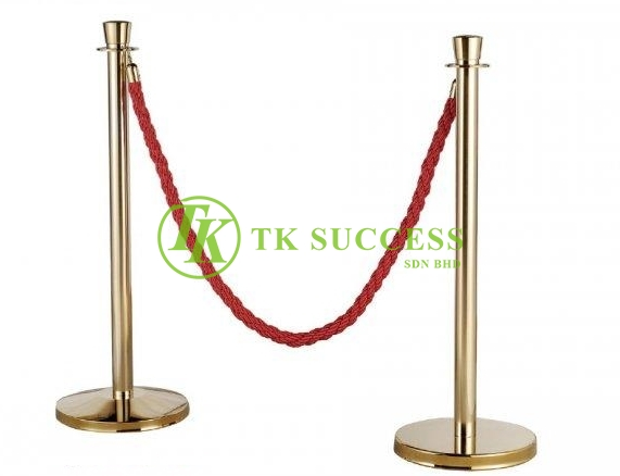 Gold Brass Velvet Rope Q up Stand (Crown Top)