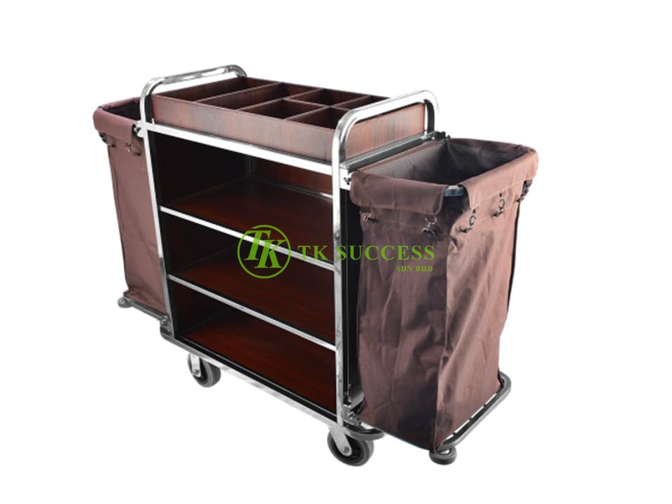 Stainless Steel Wooden Maid Trolley (Foldable Side)