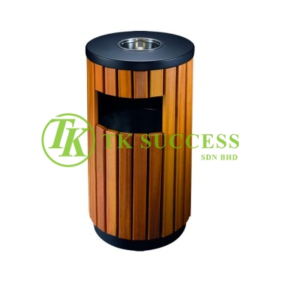 Wood Round Waste Bin c/w Ashtray Top &G.I. Inner Liner