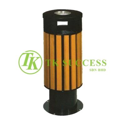 Wood Round Waste Bin c/w Ashtray Top & G.I. Inner Liner