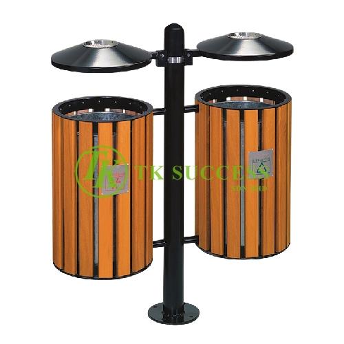 Wood Outdoor Bin c/w Ashtray Top & Galvanished Liner