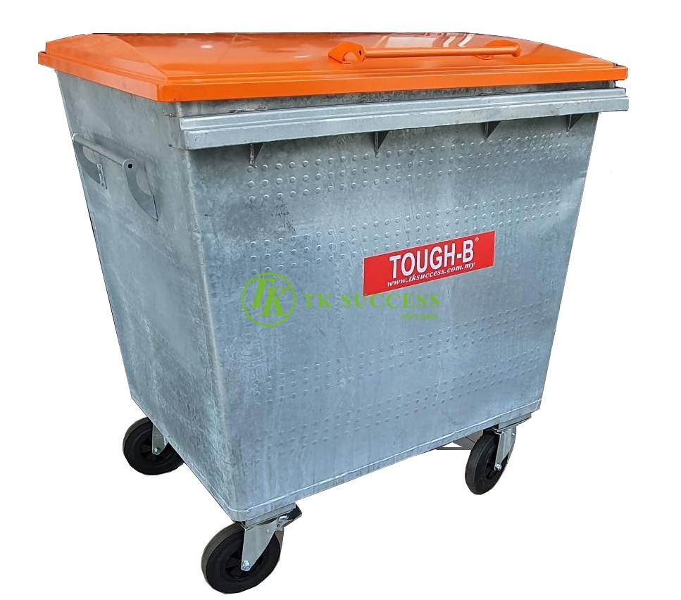 TOUGH-B Galvanize Mobile Garbage Bin 1100 Litres with Cover