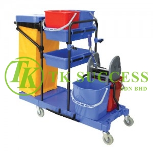 Multifunction Janitor Cart with Double Wringer Bucket 310 (Blue)