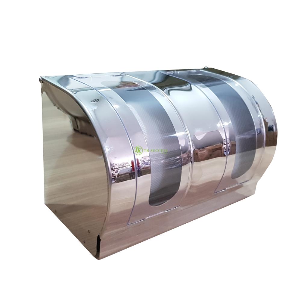 Stainless Steel Double Toilet Roll Tissue Dispenser (Transparent)