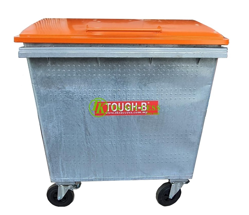 TOUGH-B Galvanise Mobile Garbage Bin 660 Litres with Cover