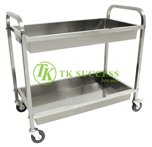 Stainless Steel 2 Tiers Food Trolley