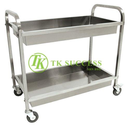 Stainless Steel 2 Tiers Food Trolley