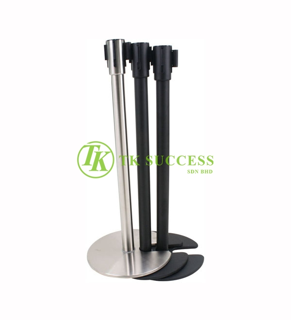 Black Stackable Retractable Belt Q-Up Stand