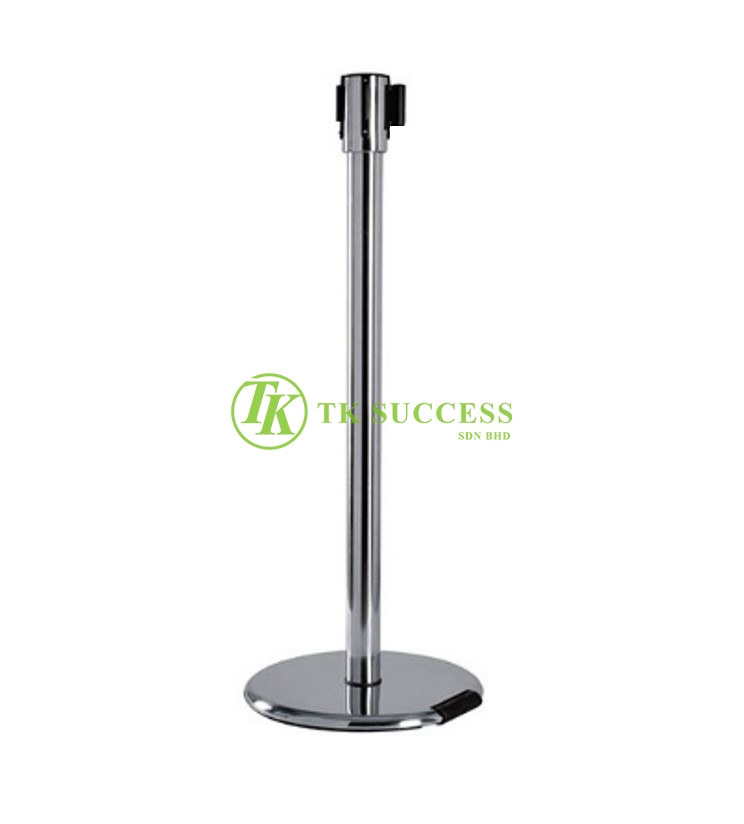 Stainless Steel Retractable Belt Q-Up Stand (Built in Wheel)