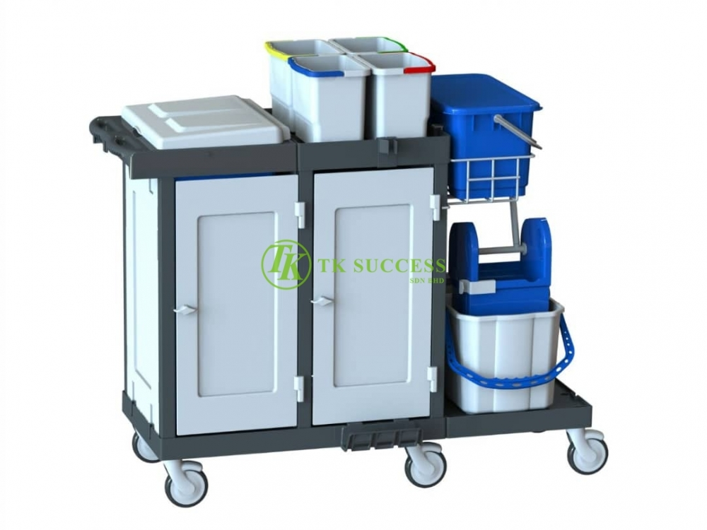 Europa 100 Full Set Cover Janitor Cart Trolley with Double Wringer Bucket and Pail