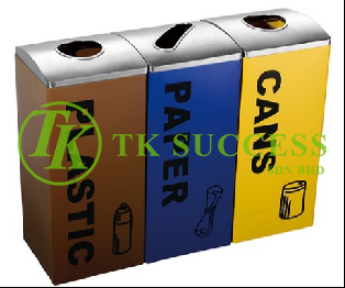 Stainless Steel Mid Steel Recycle Bin 3 in 1
