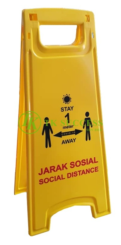 Anders Yellow Caution Sign Board - Jarak Sosial / Social Distance