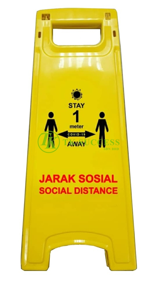 Anders Yellow Caution Sign Board (Jarak Sosial / Social Distance)