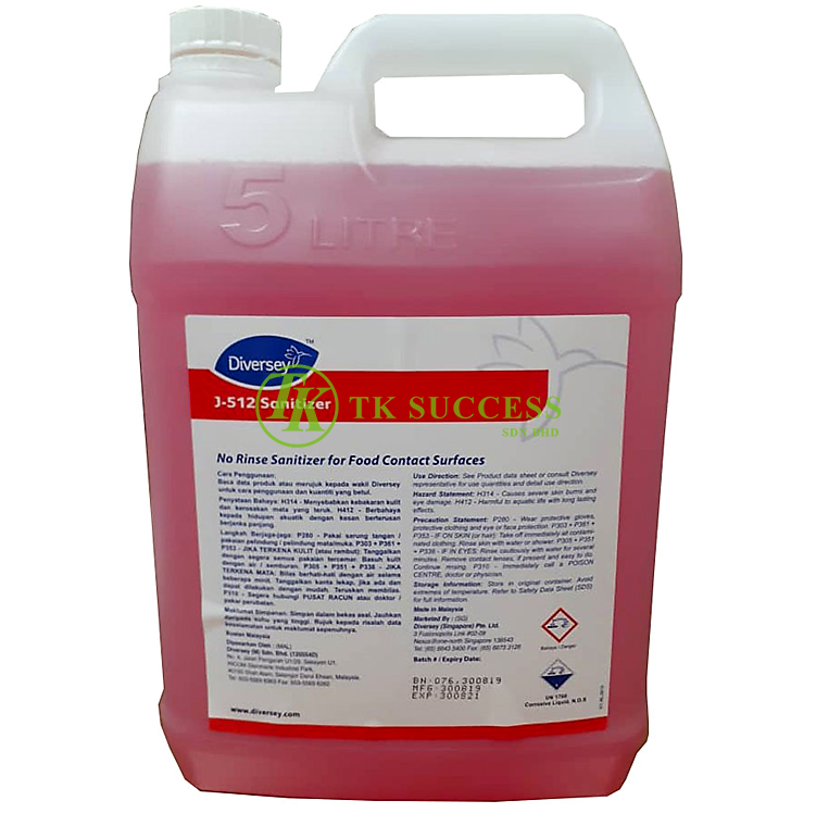 Diversey J-512 Sanitizer 5L (Concentrate) Food Grade
