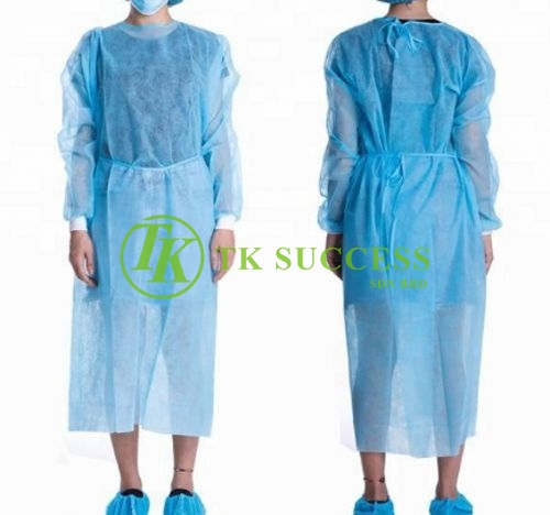 Blue Disposable Non Woven Isolation Gown with Elastic Cuff